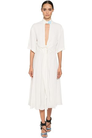 OFF-WHITE Techno Crepe Fluid Midi Dress