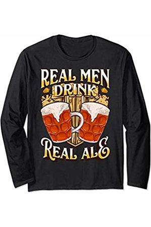 Real Ale Beer Fan Designs Real Men Drink Real Ale Beer Festival Brewery Pub Gift Dad Long Sleeve T-Shirt