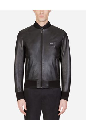 Dolce & Gabbana Men Leather Jackets - Jackets and Bombers - LEATHER JACKET WITH BRANDED PLATE