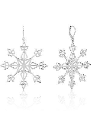 Disney Frozen Ii White Gold Plated Statement Snowflake Earrings