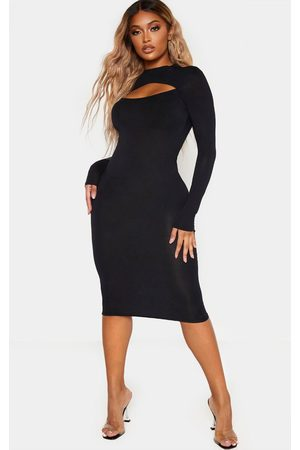PRETTYLITTLETHING Shape Jersey Cut Out Long Sleeve Midi Dress