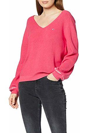 Tommy Hilfiger Women's Tjw Sleeve Logo V-neck Sweater Jumper