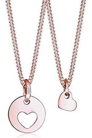 Elli Women's 925 Sterling Silver Rose Plated Mother Child Cut-Out Heart Pendant Love Necklace Jewellery Set