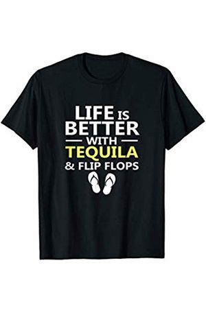 JuneThirtyCo. Drinking In Flip Flops Apparel Life Is Better Tequila & Flip Flops - Drinking On The Beach T-Shirt