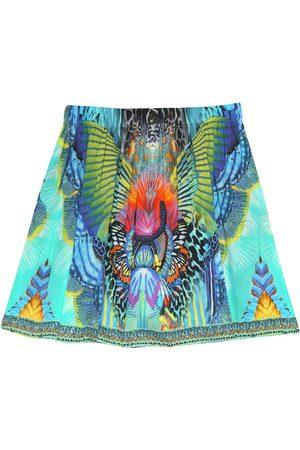 Camilla Printed cotton and silk skirt
