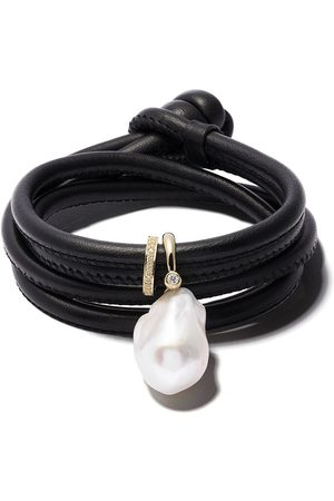 Mizuki 14kt diamond pearl wrap bracelet