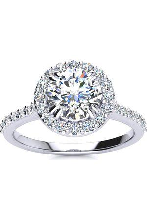 SuperJeweler 1.25 Carat Round Shape Halo Moissanite Engagement Ring in 14K (3.70 g), E/F, Size 4
