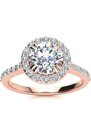 SuperJeweler 1.25 Carat Round Shape Halo Moissanite Engagement Ring in 14K Rose (3.70 g), E/F, Size 4