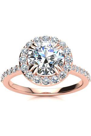 SuperJeweler 2 Carat Round Shape Halo Moissanite Engagement Ring in 14K Rose (4.20 g), E/F, Size 4