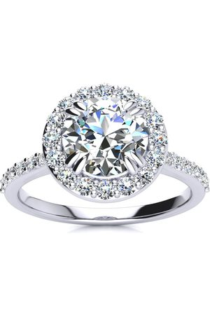 SuperJeweler 2 Carat Round Shape Halo Moissanite Engagement Ring in 14K (4.20 g), E/F, Size 4
