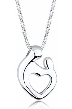 Elli Children's 925 Sterling Mother and Child Heart Love Pendant with Necklace of Length 45 cm