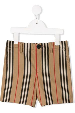 Burberry Boys Shorts - Icon Stripe Cotton Chino Shorts - NEUTRALS
