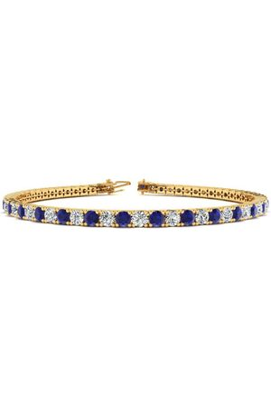 SuperJeweler 8.5 Inch 4 Carat Sapphire & Diamond Men's Tennis Bracelet in 14K (11.3 g), J/K