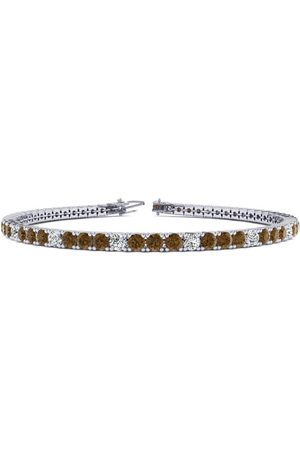 SuperJeweler 7.5 Inch 2 3/4 Carat Chocolate Bar Brown Champagne & Diamond Men's Tennis Bracelet in 14K (10 g), J/K