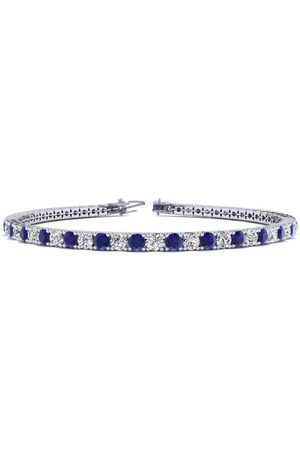 SuperJeweler 7.5 Inch 3 1/2 Carat Sapphire & Diamond Men's Tennis Bracelet in 14K (10 g), J/K