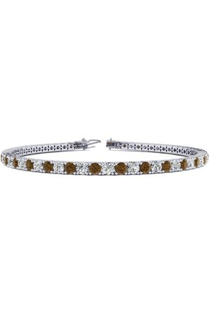 SuperJeweler 8.5 Inch 3 1/4 Carat Chocolate Bar Brown Champagne & Diamond Men's Tennis Bracelet in 14K (11.3 g), J/K