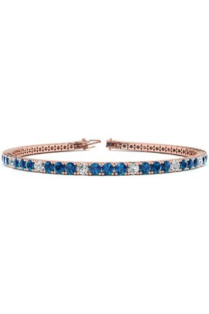 SuperJeweler 8.5 Inch 4 3/4 Carat Blue & White Diamond Alternating Men's Tennis Bracelet in 14K Rose (11.4 g), J/K