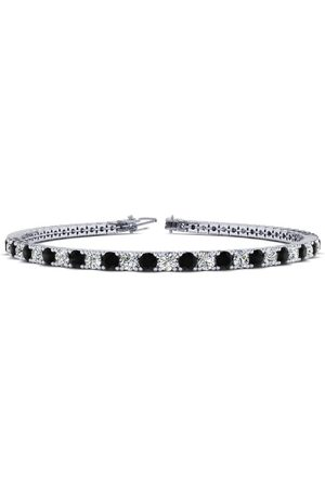 SuperJeweler 8 Inch 3 Carat Black & Diamond Men's Tennis Bracelet in 14K (10.6 g), J/K