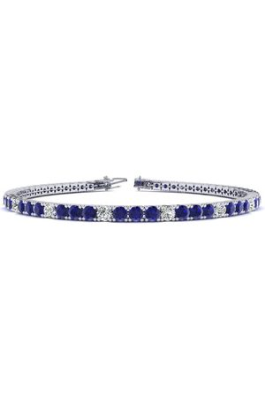 SuperJeweler 9 Inch 6 1/3 Carat Sapphire & Diamond Alternating Men's Tennis Bracelet in 14K (12.1 g), J/K