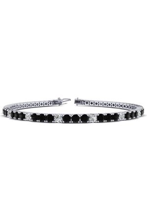 SuperJeweler 9 Inch 5 Carat Black & Diamond Alternating Men's Tennis Bracelet in 14K (12.1 g), J/K