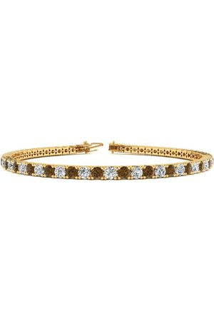 SuperJeweler 9 Inch 3 1/2 Carat Chocolate Bar Brown Champagne & White Diamond Men's Tennis Bracelet in 14K (12 g), J/K