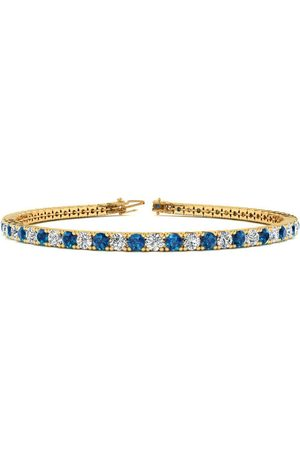 SuperJeweler 8 Inch 3 Carat Blue & White Diamond Men's Tennis Bracelet in 14K (10.6 g), J/K