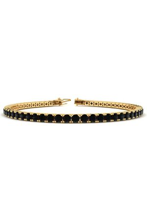 SuperJeweler 8 Inch 3 Carat Black Diamond Men's Tennis Bracelet in 14K (10.6 g)