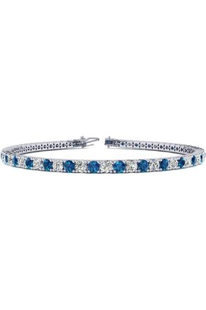 SuperJeweler 8 Inch 3 Carat Blue & Diamond Men's Tennis Bracelet in 14K (10.6 g), J/K
