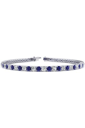 SuperJeweler 9 Inch 6 Carat Sapphire & Diamond Men's Tennis Bracelet in 14K (12.1 g), J/K