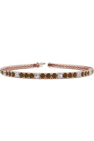 SuperJeweler 9 Inch 5 Carat Chocolate Bar Brown Champagne & White Diamond Alternating Men's Tennis Bracelet in 14K Rose (12.1 g), J/K