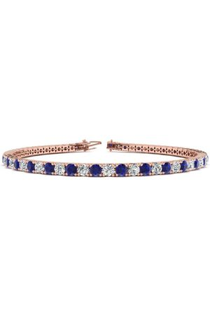SuperJeweler 7.5 Inch 5 Carat Sapphire & Diamond Men's Tennis Bracelet in 14K Rose (10.1 g), J/K
