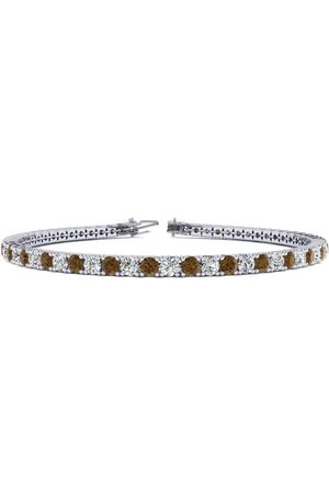 SuperJeweler 7.5 Inch 4 1/4 Carat Chocolate Bar Brown Champagne & Diamond Men's Tennis Bracelet in 14K (10.1 g), J/K