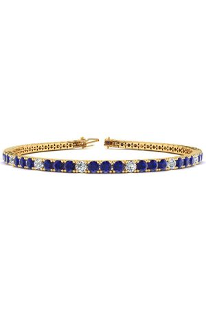 SuperJeweler 8 Inch 4 1/4 Carat Sapphire & Diamond Alternating Men's Tennis Bracelet in 14K (10.6 g), J/K