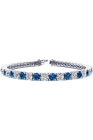 SuperJeweler 9 Inch 11 3/4 Carat Blue & Diamond Men's Tennis Bracelet in 14K (15.4 g), I/J