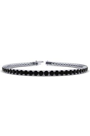 SuperJeweler 8 Inch 3 Carat Black Diamond Men's Tennis Bracelet in 14K (10.6 g)