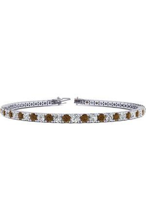 SuperJeweler 8 Inch 4 1/2 Carat Chocolate Bar Brown Champagne & Diamond Men's Tennis Bracelet in 14K (10.7 g), J/K