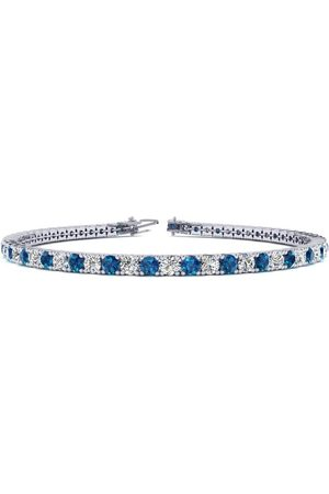 SuperJeweler 9 Inch 5 Carat Blue & Diamond Men's Tennis Bracelet in 14K (12.1 g), J/K
