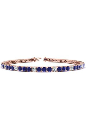 SuperJeweler 8 Inch 5 1/2 Carat Sapphire & Diamond Alternating Men's Tennis Bracelet in 14K Rose (10.7 g), J/K