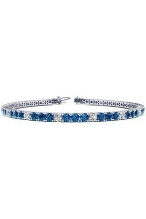 SuperJeweler 8.5 Inch 3 1/4 Carat Blue & Diamond Men's Tennis Bracelet in 14K (11.3 g), J/K