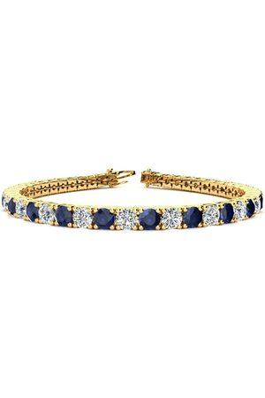 SuperJeweler 9 Inch 14 Carat Sapphire & Diamond Men's Tennis Bracelet in 14K (15.4 g), I/J