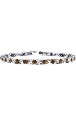 SuperJeweler 9 Inch 3 1/2 Carat Chocolate Bar Brown Champagne & Diamond Men's Tennis Bracelet in 14K (12 g), J/K