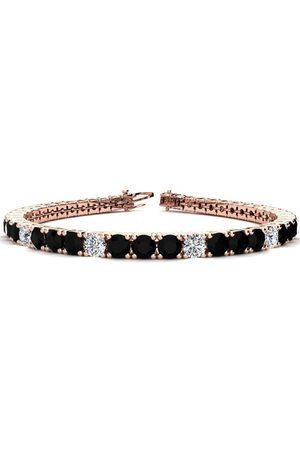 SuperJeweler 9 Inch 11 3/4 Carat Black & White Diamond Alternating Men's Tennis Bracelet in 14K Rose (15.4 g), I/J