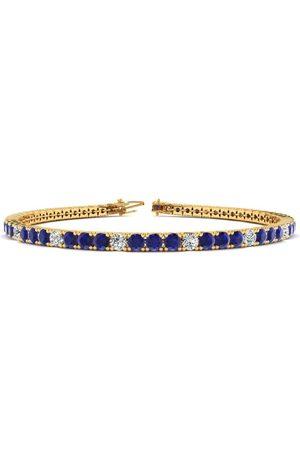 SuperJeweler 8.5 Inch 6 Carat Sapphire & Diamond Alternating Men's Tennis Bracelet in 14K (11.4 g), J/K