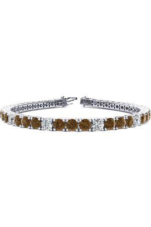 SuperJeweler 9 Inch 11 3/4 Carat Chocolate Bar Brown Champagne & Diamond Alternating Men's Tennis Bracelet in 14K (15.4 g), I/J