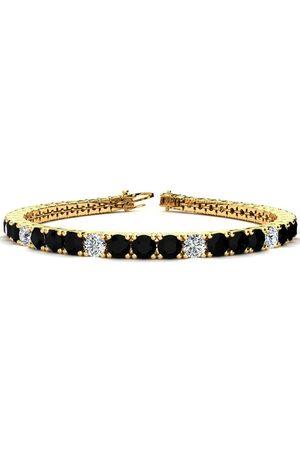 SuperJeweler 8.5 Inch 11 1/5 Carat Black & White Diamond Alternating Men's Tennis Bracelet in 14K (14.6 g), I/J