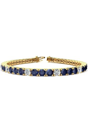 SuperJeweler 8 Inch 13 3/4 Carat Sapphire & Diamond Alternating Men's Tennis Bracelet in 14K (13.7 g), I/J