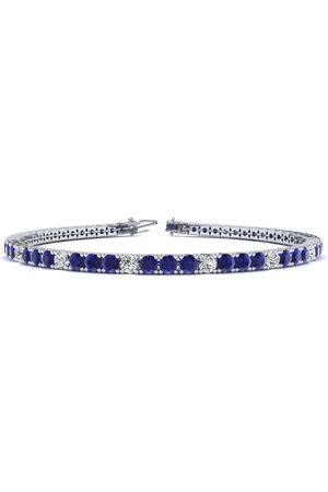 SuperJeweler 8 Inch 4 1/4 Carat Sapphire & Diamond Alternating Men's Tennis Bracelet in 14K (10.6 g), J/K