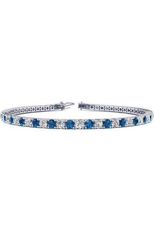 SuperJeweler 7.5 Inch 4 1/4 Carat Blue & Diamond Men's Tennis Bracelet in 14K (10.1 g), J/K