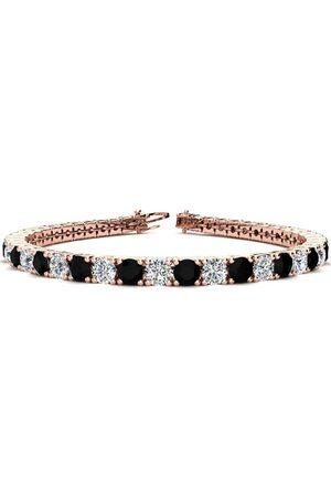 SuperJeweler 9 Inch 11 3/4 Carat Black & White Diamond Men's Tennis Bracelet in 14K Rose (15.4 g), I/J