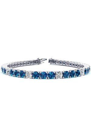 SuperJeweler 9 Inch 11 3/4 Carat Blue & Diamond Alternating Men's Tennis Bracelet in 14K (15.4 g), I/J